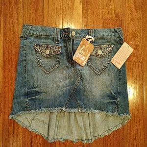 Candies Studded High Low Denim Mini Skirt